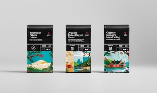 packaging de café diseño gráfico envasado