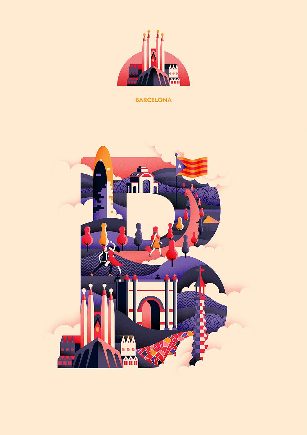 diseño gráfico, ilustraciones de ciudades