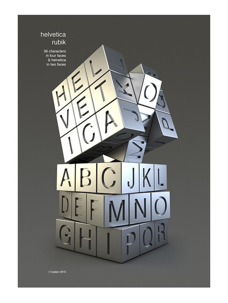 cubo de rubik, tipografía helvética
