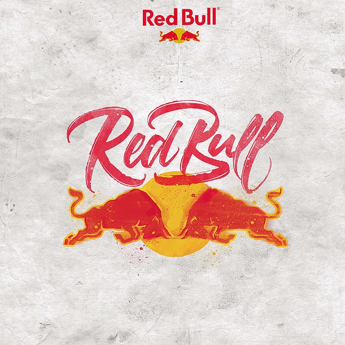 lettering diseño redbull gráfico design